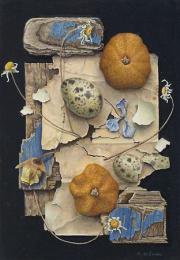 Compositie met gedroogde mandarijnen en eitjes © Aad Hofman