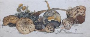 Verdroogde paddestoelen, kalebas en vogelschedel, 1924, Dirk van Gelder