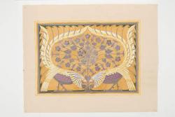 Ontwerptekening voor rechthoekig paneel met decor twee gestileerde vogels en florale motieven