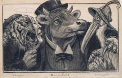 Tekening voor spotprent in De Groene Amsterdammer getiteld Het nobele drietal Leugen tijger, Domheid os en Hebzucht nimmerzatvogel