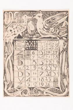 Proefdruk voor kalenderblad mei 1894, met boven het blok met dagen een decor van twee vogels