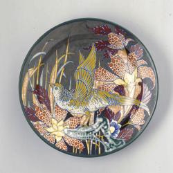Wandbord met decoratie met vogel en bloemen