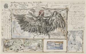 Vijf schetsen naar werken van vogels