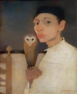 Zelfportret met Kerkuil - Jan Mankes