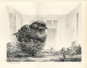 PV-P-79, litho, Bird in Bush, Peter Vos