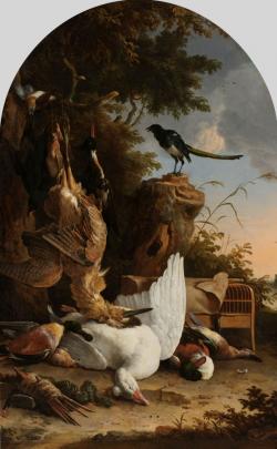 Jachtbuit bij een ekster op een boomstronk, bekend als 'De filosoferende ekster'