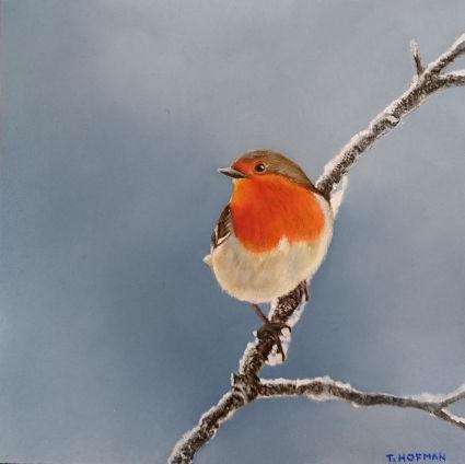 Roodborstje, 15 x 15 cm, olieverf op paneel, Trudie Hofman